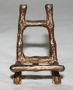 Vintage Small Gold Ormolu Faux Bamboo Easel Picture Or Plate Display Stand Gilt
