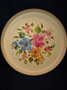 Vintage Nashco Hand Painted Roses Round Ivory Metal Tole 13 Tray With Label Nr