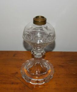 1800 S Early Flint Glass Ring Punty Scallop Press Base Whale Oil Lamp