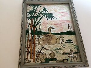 Foil Art In Frame Swans Vintage Collectible Silver Frame