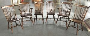 Walter Of Wabash Walnut Windsor Dining Chairs Set Of Six