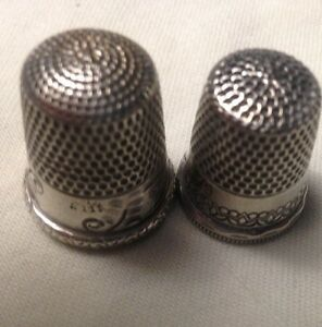 Two Vintage Simon Sterling Silver Thimbles One Is Cottage Sunrise Sizes 6