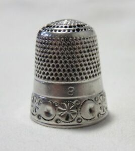 Antique Simons Sterling Silver Pinwheels Band Size 8 Thimble