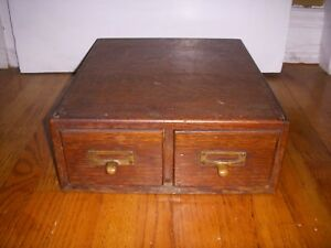 Antique Koller Smith Wood Oak Dovetail 2 Drawer Index Card File Library Globe
