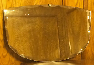 Vintage Scalloped Beveled Glass Mirror With Fleur Clips