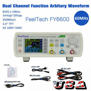 Feeltech Fy6600 15mhz 2ch Dds Function Signal Generator Kit Sine square pulse Us