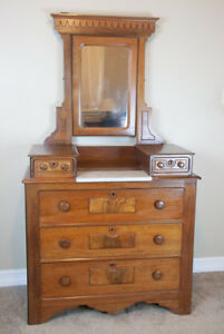 Antique Eastlake Walnut Drop Well Marble Top Dresser With Mirror