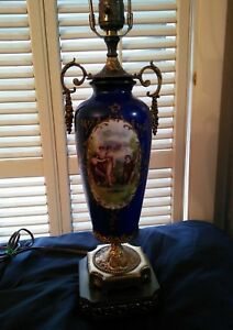 Antique French Signed Cobalt Blue Courting Scene Sevres Porcelain 27 Tall Lamp