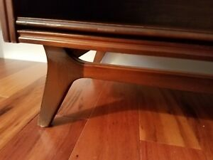 Mid Century Modern Walnut Bookcase 2 Shelves Elevated Base Tapered Legs