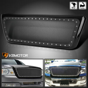 2004 2008 Ford F150 Stainless Mesh Upper Front Bumper Rivet Hood Grille W shell