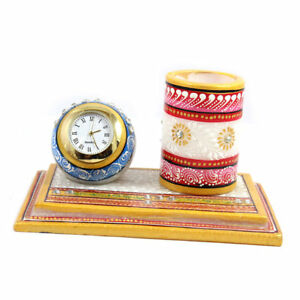 Clock Table Decorated Marble Pen Holder Desk Organizer Handmade Home Decor