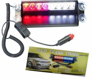 Car Dashboard Led Emergency Vehicle Strobe Lights Fire Fighter 12v Red White New
