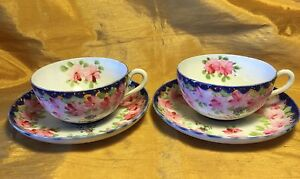 Antique Porcelain Pair All Hand Painted Pink Flower W Raised Dots Cup