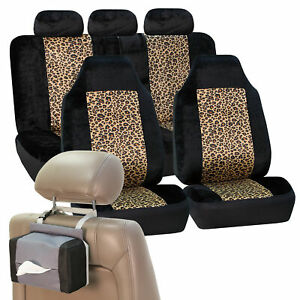 Car Seat Covers Brown Leopard Velour Luxury Free Gift Tissue Dispenser