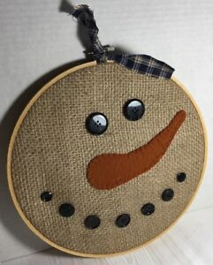 Primitive Snowman Burlap Penny Wool Felt Nose 10 5 Round Wood Embroidery Hoop