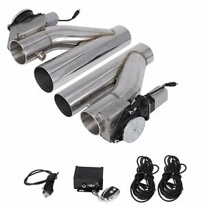 3 E Cut Out Valve Electric Exhaust Downpipe 2pcs W Controller Remote Kit 1pc