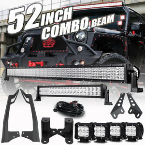 For Jeep Wrangler Jk Quad Row 52 3600w 22 18w Led Light Bar Hood Mount Bracket