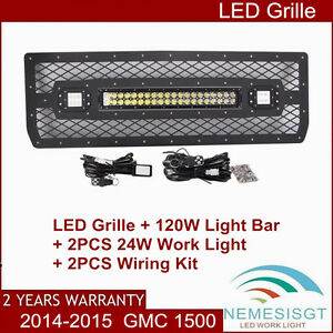 Led Grille For 2014 2015 Gmc 1500 120w Led Spot Light 2x 24w Lamp With Wire