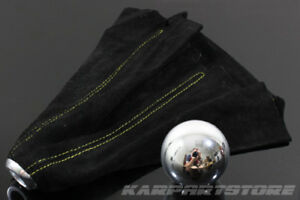 For Prelude Round Shaped Polish Aluminum Shift Knob Yellow Stitched Suede Boot