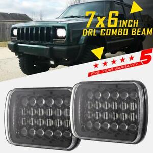 Pair 240w 7x6 5x7 Led Headlights For Chevrolet Jeep Cherokee Xj Wrangler Yj H4