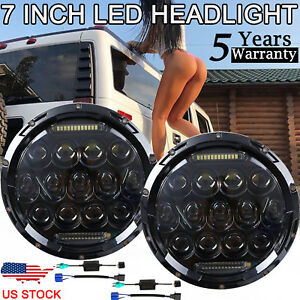 For Hummer H2 Jeep Wrangler 7 Dot Round Led Headlights Lamp Jk Jku Headlights