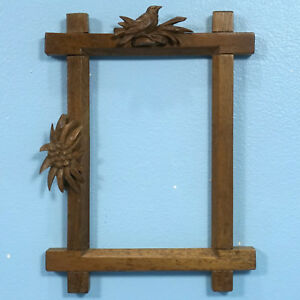 Antique Swiss Black Forest Wood Carving Picture Frame Bird Edelweiss 3d Relief