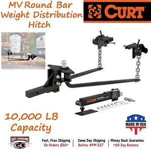 17062 Curt Mv Round Bar Weight Distribution Hitch Kit With A Gtw Of 10 000 Lb