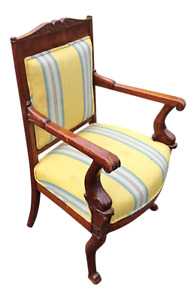 Antique French Early 19th C Napoleonic Mahogany Empire Carved Dolphin Arm Chair
