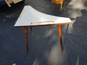 Mid Century Modern Triangular Corner Table Formica Chrome Detail Long Taper Legs
