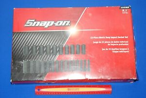 New Snap on 25 Piece 1 2 Drive 6 point Metric Deep Impact Socket Set 325simm
