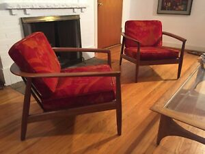Pair Original Swedish Mid Century Modern Dux Barrel Chairs