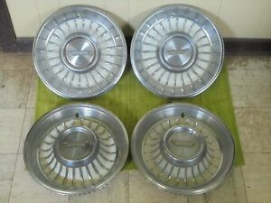 1962 Cadillac Hub Caps 15 Set Of 4 Caddy Wheel Covers Hubcaps 1962 White