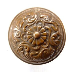Antique Door Knob Bronze Or Brass Ornate Vintage Three Fish Design