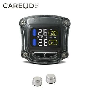 Wireless Lcd Motocycle Tpms Tire Pressure Monitoring System 2 External Sensor