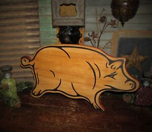 Rare Antique Vtg Wood Farm House Pig Hog Bread Cutting Board Great Xmas Gift