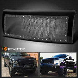 2009 2014 Ford F150 Stainless Mesh Rivet Upper Bumper Front Hood Grille W Shell