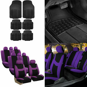 8 Seaters 3 Row Purple Black Seat Covers For Suv Van Combo With Black Floor Mats