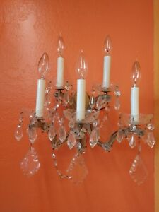 Antique Italian Marie Theresa 5 Arm Electric Wall Sconce With Crystal Prisms