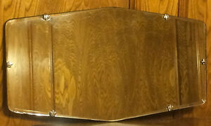 Vintage 12 X 22 Beveled Glass Mirror With Fleur Clips
