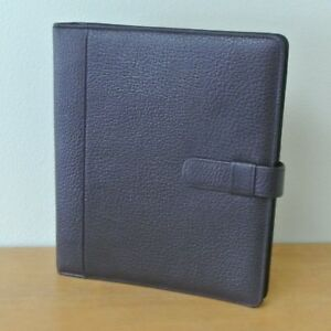 Day timer Monarch folio Burgundy Pebbled Leather 1 1 Planner Binder Organizer