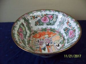 Imperial Figures Painted Chinese Famille Rose Medallion Porcelain Bowl 10 X 4