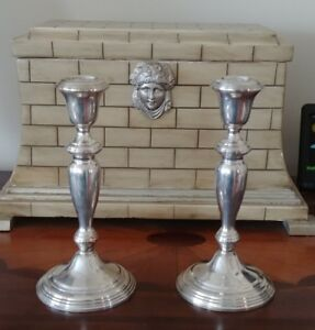 Pair Empire Sterling Weighted Candle Holders Candlesticks 8