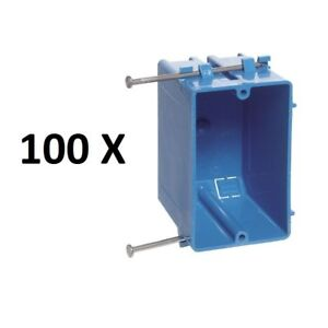 100 X Single 1 Gang 18 Wall Outlet Light Switch New Work Plastic Electrical Box