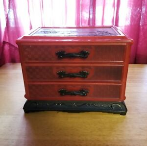 Vintage Jewelry Box Chest Asian Oriental Dragon Pagoda Celluloid Japanese