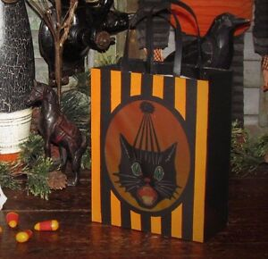 Bethany Lowe Vtg Style Halloween Black Sassy Cat Paper Tin Lantern Candy Bag