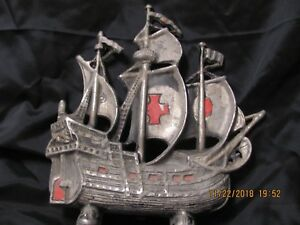 Vintage Cast Metalware Pirate Ship Door Stop