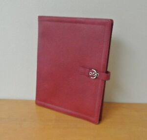 Red Franklin Covey Monarch Folio Leather Wirebound Planner Cover