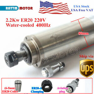 usa spindle Motor 2 2kw 220v Water Cooled Er20 24000rpm 8a Cnc Engraving Router