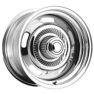 4 Vision Rally 57 15x8 5x5 6mm Chrome Wheels Rims With Caps Rings