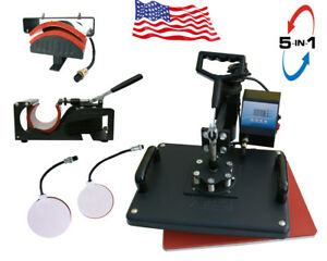 5 In 1 Heat Press Machine For T shirts 1250w Combo Kit Sublimation Digital